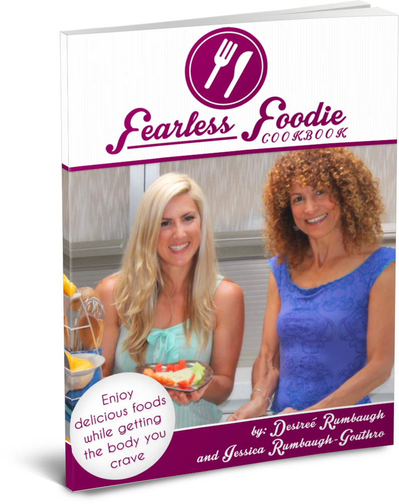 book cover showing two women holding food in kitchen