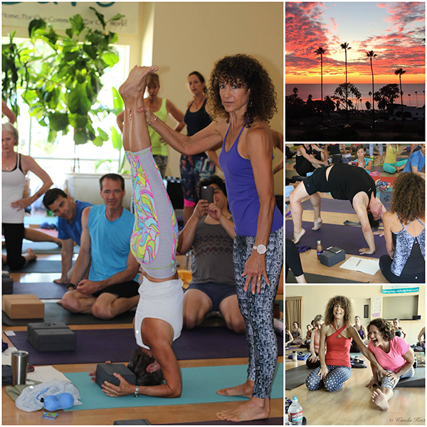 Collage of photos showing people doing yoga with Desiree. Also includes a sunset photo.